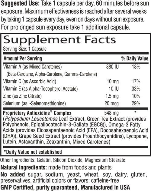 Sunsafe Rx Supplement Facts Label