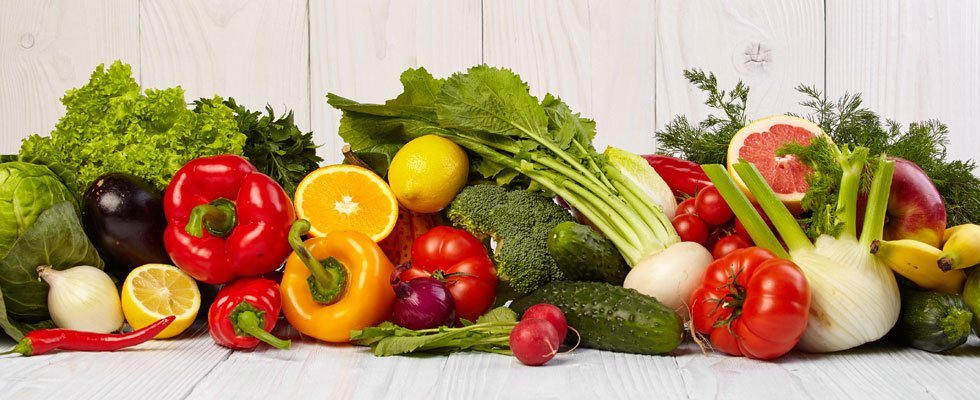 Vegetables and fruit with decreasing nutrient density